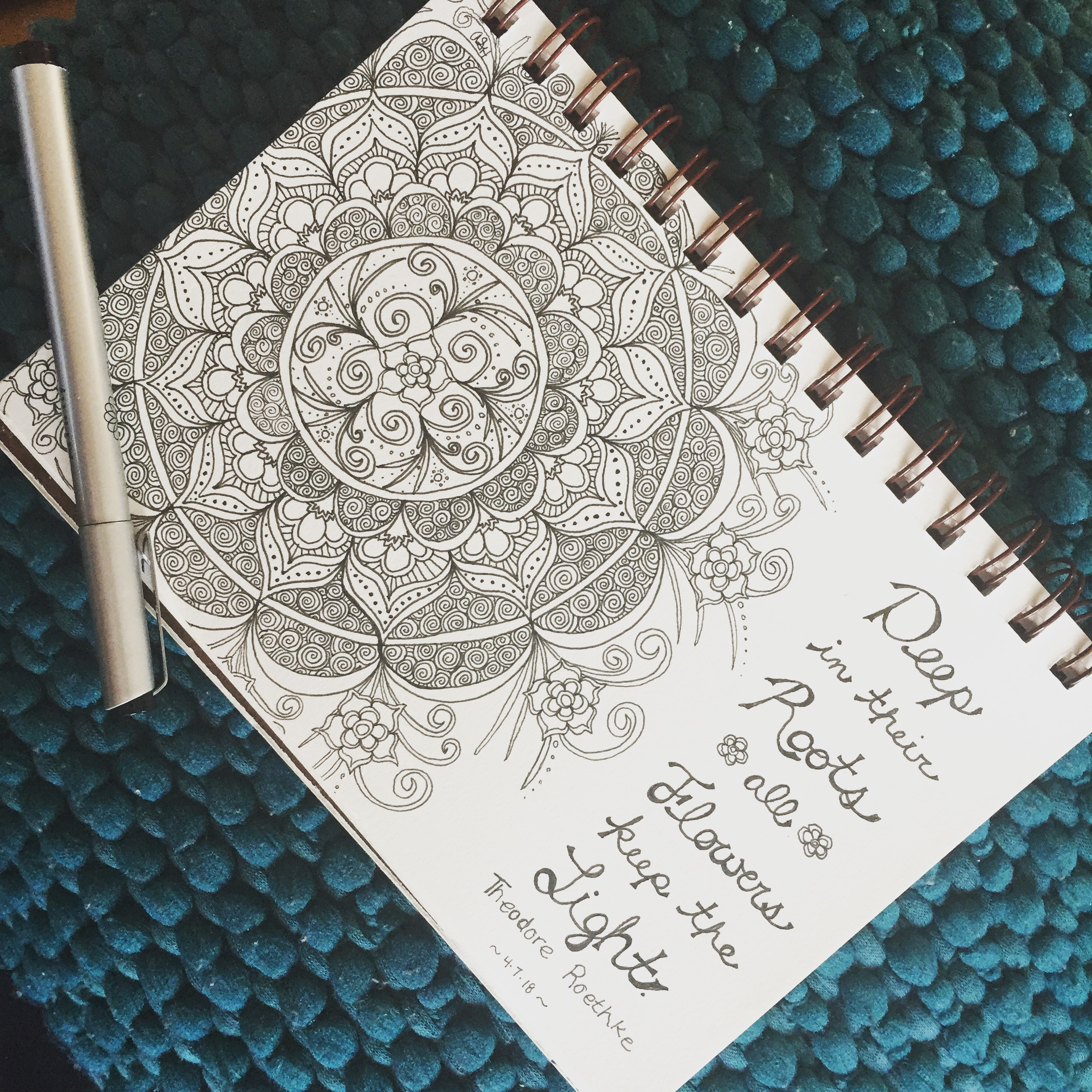"""Drawing always calms and comforts me. I've just rediscovered it in the last year or two and it's been such a game changer for me. I'd go so far as to call it """"transformational"""". What activity brings you comfort?"""